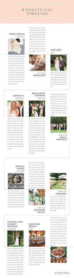 The Ideal Wedding Day Timeline | Wedding Day Checklist | Detailed Wedding Checklist. You might opt to delegate some of the minor responsibilities to members of the wedding party or your families to assist you adhere to the timeline. Wedding event preparation can be made complex, so creating these organized lists will assist prevent difficult circumstances. #แต #weddingblog #Photography ideas