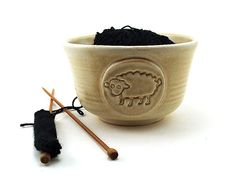 Yarn Bowl with a Sheep for Knitting or by MiriHardyPottery on Etsy, $40.00