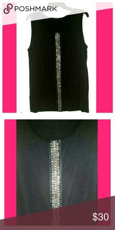 NWOT Black and Silver Sleeveless Top Beautiful top! Beautiful detailed beading. Dress it up, or down. Materials: 95% Polyester 5% Spandex. Premise Tops