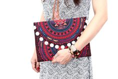 Red Embroidered Clutch With Coin Magnetic Closure Thailand (BG306WC-RCAT)