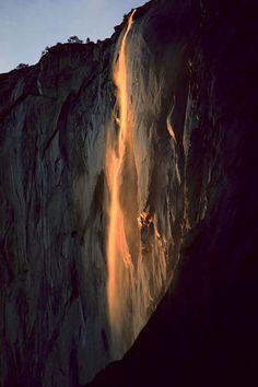 Last light on Horsetail Fall, Yosemite National Park; Galen Rowell - Mountain Light Photography