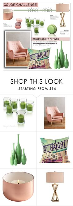 """""""Color Challenge: Green and Blush"""" by milica1940 ❤ liked on Polyvore featuring interior, interiors, interior design, home, home decor, interior decorating, Anthropologie, Global Views, DENY Designs and Catalina"""