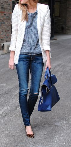 Zara jacket, J Crew tweed tee, Rag & Bone jeans, Phillip Lim bag, J Crew heels. Casual Chic, Moda Casual, Casual Dressy, Fall Fashion Trends, Love Fashion, Winter Fashion, Mode Chic, Vogue, Phillip Lim