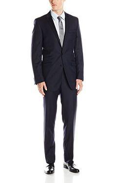 Ben Sherman Men's Kings Solid 2 Button Side Vent Suit, Navy, 44 Regular ❤ Lanier Clothes