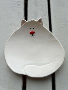 Ceramic Cat Plate White Hand Painted Plate Soap Holder by Lamabo