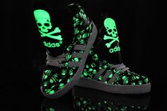 Glow in the Dark High Tops Skulls Big Tongue Shoes Adidas Originals Black White