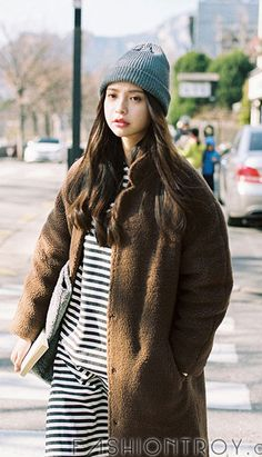 Fashiontroy Hipster & Indie long sleeves brown solid color faux shearling padded coat