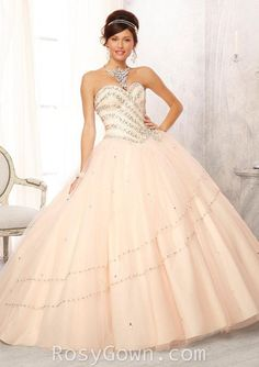 Jewel Beaded Strapless Sweetheart Champagne Tulle Quinceanera Dress