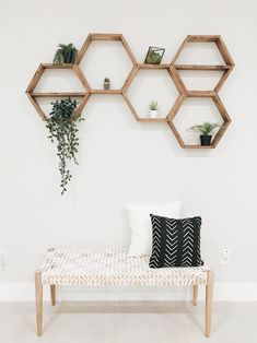 Home Remodel Videos Hexagon Shelves Honeycomb Shelf Floating Hexagon Shelf Honeycomb Shelves, Hexagon Shelves, Living Room Designs, Living Room Decor, Bedroom Decor, Bedroom Ideas, Master Bedroom, Modern Bedroom, Contemporary Bedroom