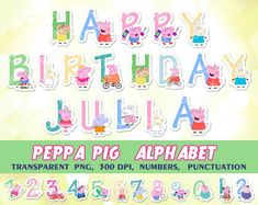 Peppa Pig digital Alphabet, clipart, elements, for kids birthday party, invitations, cards, scrapbooking, printable decorations.PNG,300 dpi. by CutOutAndPlay
