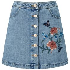 Miss Selfridge Floral Embroidered Skirt, Mid Wash Denim (112505 PYG) ❤ liked on Polyvore featuring skirts, bottoms, denim, floral print skirt, button-front denim skirts, denim mini skirts, floral a line skirt and blue skirts