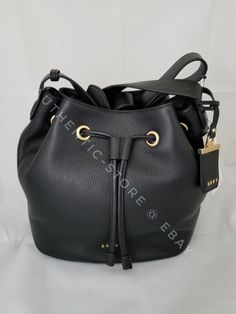 b7709dceee DKNY Donna Karan Womens Leather Drawstring Shoulder Bag Black for sale  online | eBay. Donna KaranBucket BagShoulder BagLeatherBagsHandbagsTotes Shoulder ...
