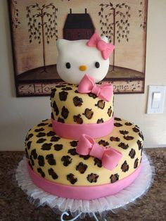 Hello Kitty Cake leopard / cheetah .  Veronica's Specialty Cakes...monica's bday   cake