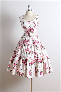 Vintage 50s dress | Wendy Wood 1950s dress | gorgeous floral cotton small | 5742
