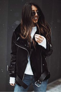 Black Faux Leather and Fur Oversized Moto Jacket