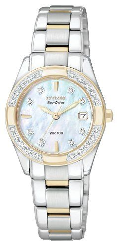 CITIZEN ECO-DRIVE Women's EW1824-57D Regent Two-Tone Diamond Watch - $371.25 - SAVE 25%