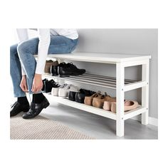 IKEA - TJUSIG, Bench with shoe storage, white, Holds min. 8 pairs of shoes. Combines with other products in the TJUSIG series. Shoe Storage White, Bench With Shoe Storage, Diy Shoe Storage, Shoe Rack Bench, Ikea Shoe Bench, Front Door Shoe Storage, Entryway Ideas Shoe Storage, Diy Shoe Organizer, Ikea Storage