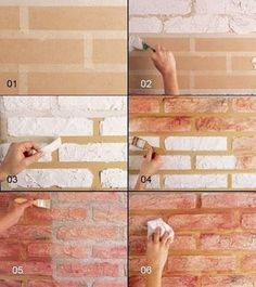 falsa parede de tijolos em http://moprendada.blogspot.com.br/2011/08/como-fazer-parede-de-tijolos-sem-quebra.html