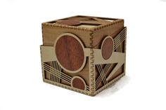 Lissitzky Cube by Melissa Metzler. This beautifully finished box is made from cherry, padauk and birch plywood.