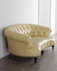 "Lenoir Yellow Sofa by Old Hickory Tannery at Neiman Marcus. 70.5""W x 42""D x 39""T. Seat, 17""T; arms, 27""T."