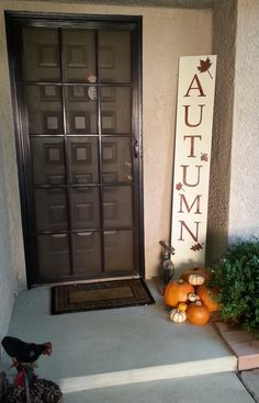 My homemade DIY wood Autumn sign.  It wasn't too hard-stain, make stencil, place stencil, paint, peel stencil, clear wax.  I used two coats of  Annie Sloan chalk paint and clear wax and mahogany stain.  I printed the letters from the internet, used painters tape on overhead projector slide sheets, placed the letter on top of the tape and cut.  Then I peeled the tape from the projector sheets...walla stickers! Final step was one quick coat of clear wax.