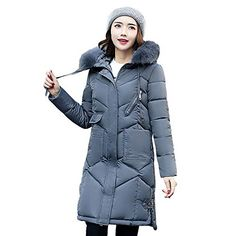 4898c17ff63 GOVOW Balck Jacket Plus Size with Pocket for Women Outerwear Fur Hooded Coat  Long Cotton-