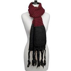 Knitted Fringe Scarf-Maroon/Black