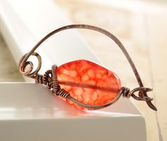 Shawl pin or scarf pin in copper with wrapped candy by IngoDesign