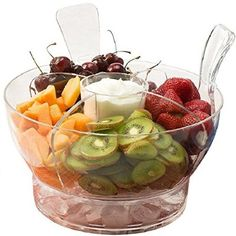 Perlli - Ice Chilled Serving Salad Bowl with Dome Lid and Serving Utensils - Includes 4-Way Divider, Dip Cup, Spacious Dome Lid, Shatterproof Acrylic, 6.5-Quart Capacity