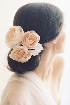 Blush English Rose Hair Pins: http://www.stylemepretty.com/lookbook/designer/erica-elizabeth/ #SMPLookBook