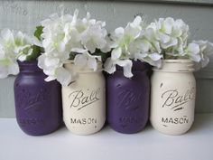Painted and Distressed Ball Mason Jars- Dark Purple and Cream-Set of 4-Flower Vases, Rustic Wedding, Centerpieces on Etsy, $28.00