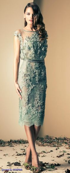 Ziad Nakad mint green floral lace cocktail dress ... bridesmaids