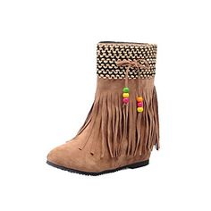 AmoonyFashion Womens HighHeels Round Closed Toe Imitated Suede PullOn Boots with Tassels Camel 40 *** See this great product.