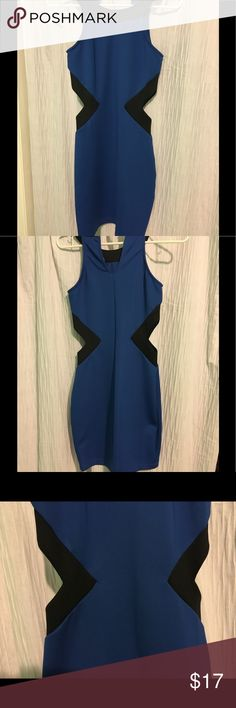 DRESS Blue and black; mid length, tight, waist cut outs. Worn four times and still in perfect condition. Super comfy and cute!! Alythea Dresses Midi