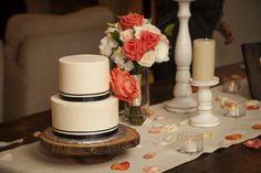 Soft orange rustic cake table in Los Cabos #wedding #cake #rustic #orange #white #decor