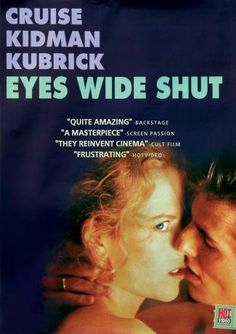 Eyes Wide shut movie poster- the one eye, plus the angles of Tom Cruise's face and the lighting on Kidman's face form a rough pyramid.