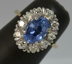 Certified No Heat Ceylon Sapphire & Diamond 18ct Gold Cluster Ring d0407 #Cluster