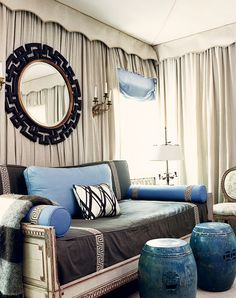 Tented ceiling, draped walls, concave scallops all around, and wonderful greek key tape trim everywhere in this cozy and chic, blue and grey space by Mary McDonald. Wall Drapes, Ceiling Curtains, Ikea Fabric, Fabric Walls, Mary Mcdonald, Chinoiserie Chic, Chinoiserie Wallpaper, Looks Cool, Sweet Home