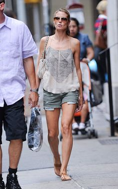 Gray denim is earthier than blue jeans, and creates a great boho look when paired with a flowy tank.