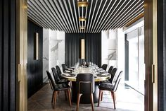 humbert & poyet designs hong kong beefbar referencing gentlemen's clubs. Burnished bronze is a featured material.