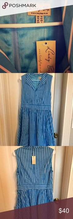 Brand New Lindy Bop Dress Blue and white stripped dress with front pocket details. Brand new, never worn Lindy Bop Dresses