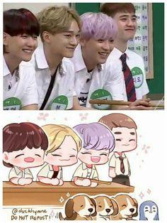 Como amo meu exo e que fanart fofa MDS Chanyeol, Baekhyun Fanart, Kpop Fanart, Kyungsoo, Funny Kpop Memes, Exo Memes, Kpop Exo, Exo Cartoon, Exo Stickers
