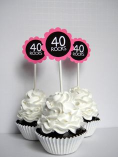 40 Rocks  40th Birthday Cupcake Toppers Hot by CarasScrapNStampArt, $10.00