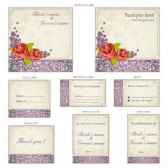 Wedding invitation templates with ornaments vector |  Set of 8 vector wedding invitation templates and cards with decorative ornaments (include invitation cards, place card, reception card, RSVP, thank you, save the date and wine labels). Format: EPS, Ai stock vector clip art. Free for download.  *Click Here To Download*