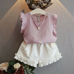 Cheap fashion girl clothing, Buy Quality girls clothing directly from China girls fashion clothing Suppliers: Belababy Girls Clothing Sets 2017 Summer Children 's Fashion Casual Pearl Sleeveless Chiffon Blouse + Shorts Suits Kids Clothes Girls Summer Outfits, Toddler Girl Outfits, Baby Girl Dresses, Baby Dress, Kids Outfits, Baby Girls, Toddler Girls, Baby Outfits, Clothes For Kids