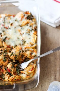 Tortellini Bake with Spinach and Roasted Red Peppers -- My Sequined Life [ENG]