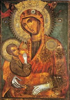 "On July the Icon of the Virgin ""Galaktotrophousa"" (Γαλακτοτροφουσα, meaning ""the Milk-Giver"") is celebrated. The Icon shows the Mother of God breast-feeding Christ. Byzantine Icons, Byzantine Art, Religious Icons, Religious Art, Catholic Art, Monastery Icons, Russian Icons, Blessed Mother Mary, Madonna And Child"