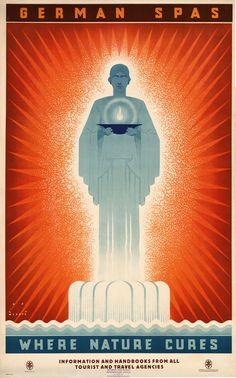Vintage German SpasTravel Poster