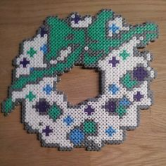 Christmas wreath hama perler beads by norkletoserne