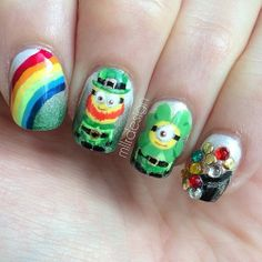 St. Patrick's Day Despicable Me minion leprechaun nail art